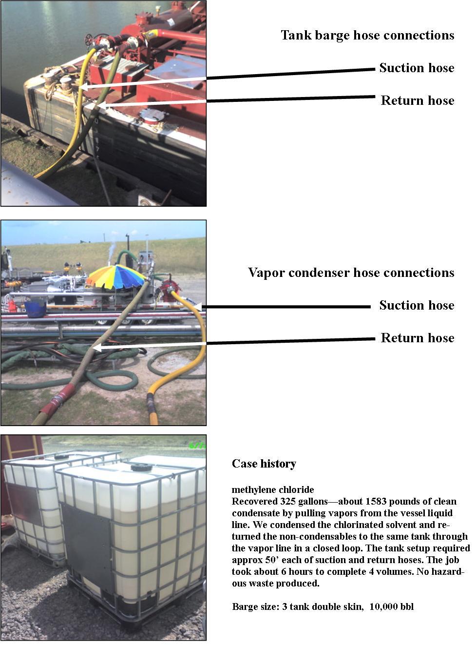Purge degasses tank barges
